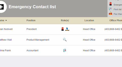 emergency contacts example